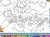 Tropical island paradise coloring - Juegos de vestir one piece